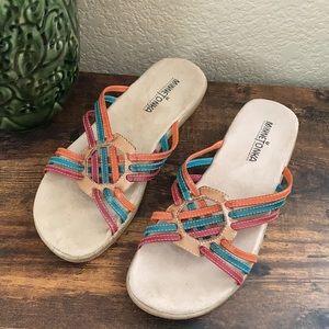 Minnetonka leather slip on sandals